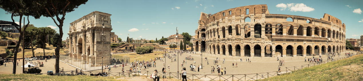 Panorama view of Colosseum and Arch of Constantine