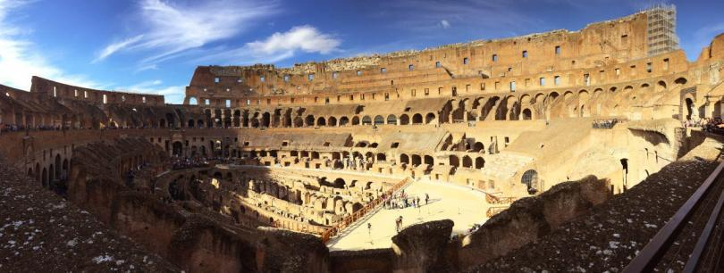 Panorama view of the Colosseum in a shade