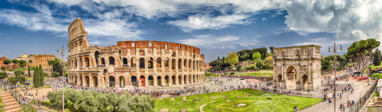 Panoramic aerial view of the Colosseum and Arch of Constantine