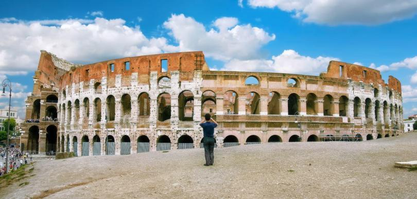 Rome, Italy, Colosseum, a man photographed the Colosseum