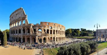 panorama overlooking the ancient Coliseum and the Arch of Constantine