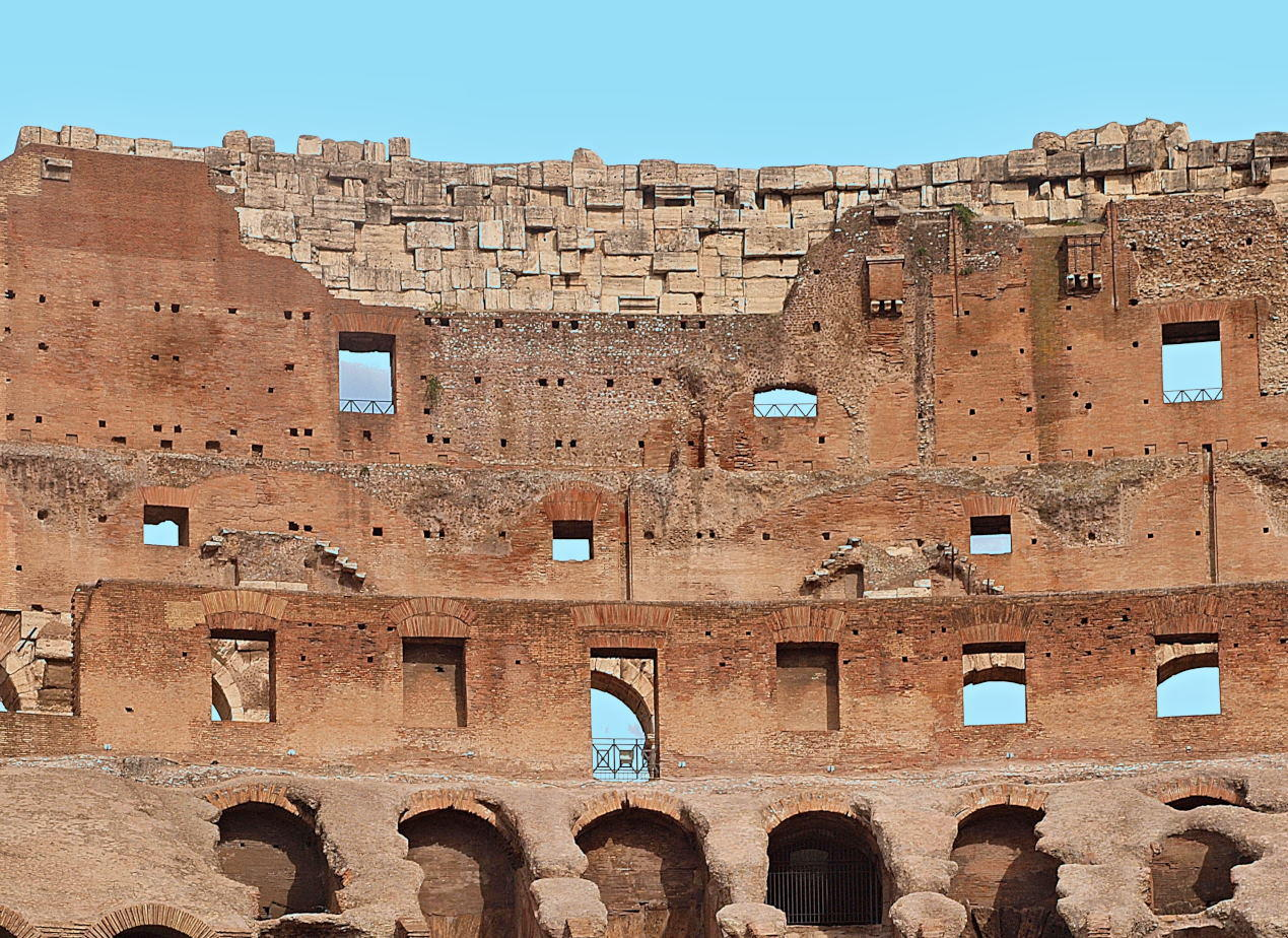 Seating in the Colosseum -Architecture of the outer walls of the famous colosseum in Rome