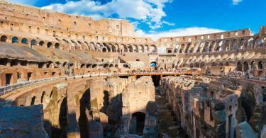 Panorama of inside part of Colosseum in Rome, Italy