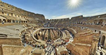 The Colosseum is seen from inside - Panoramic View