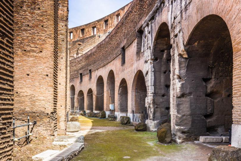 The archways inside the Colosseum, Rome