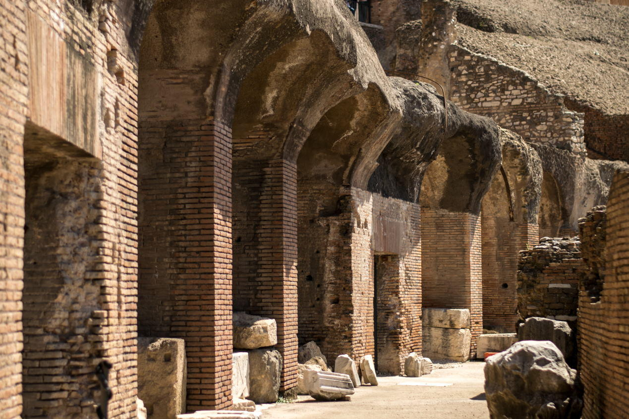 inside the Colosseum in Rome. Great architectonical landmark.