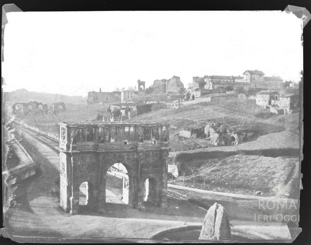 1850 view of the Meta Sudans and the Arch of Constantine