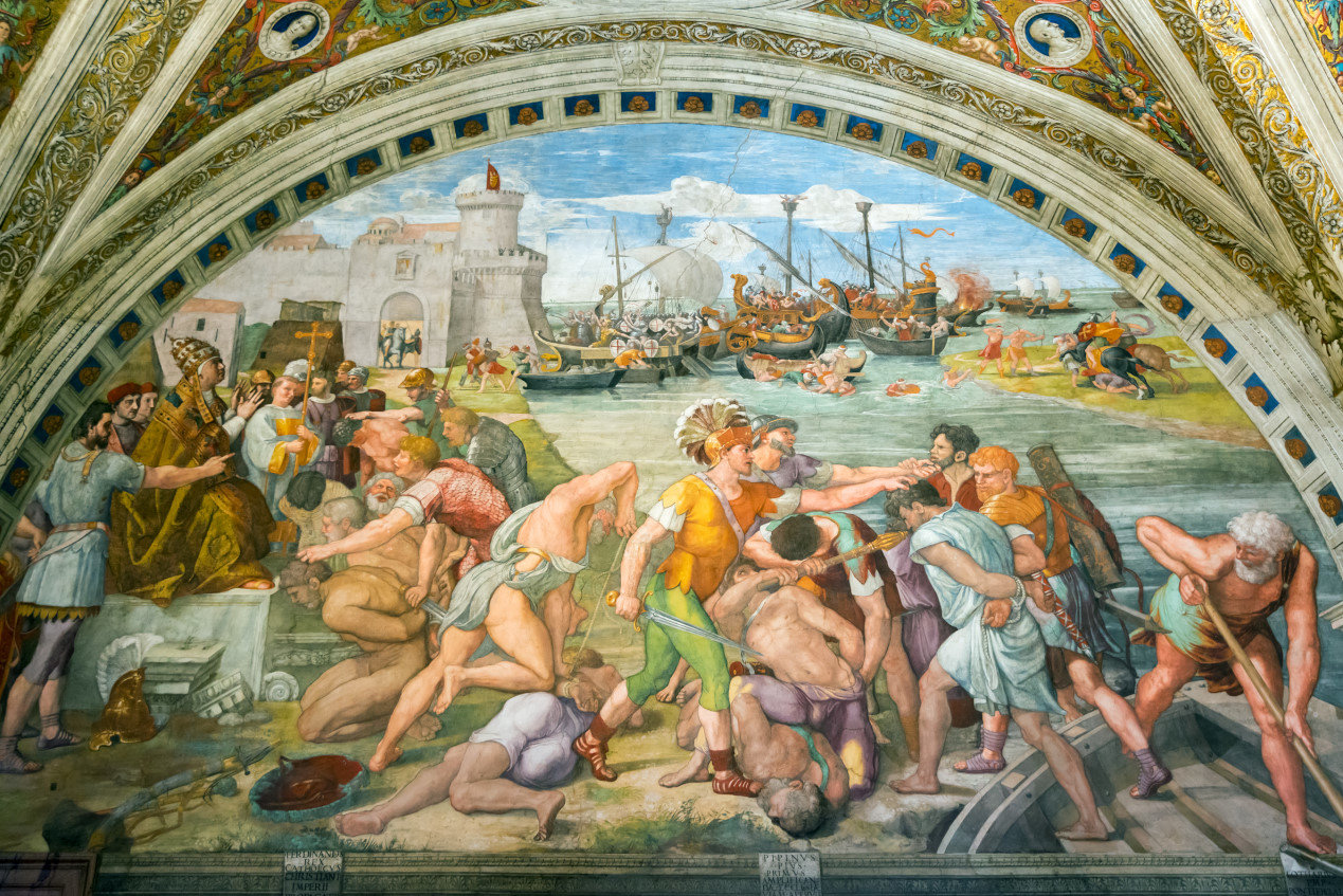 Battle of Ostia. The fresco of the 16th century in one of the rooms of Raphael (Stanze di Raffaello) in the Vatican Museum.