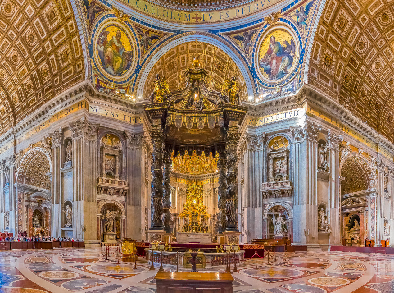 Bernini's Baldacchino Altar and ornate frescoes in the Saint Peter's Basilica in Vatican City
