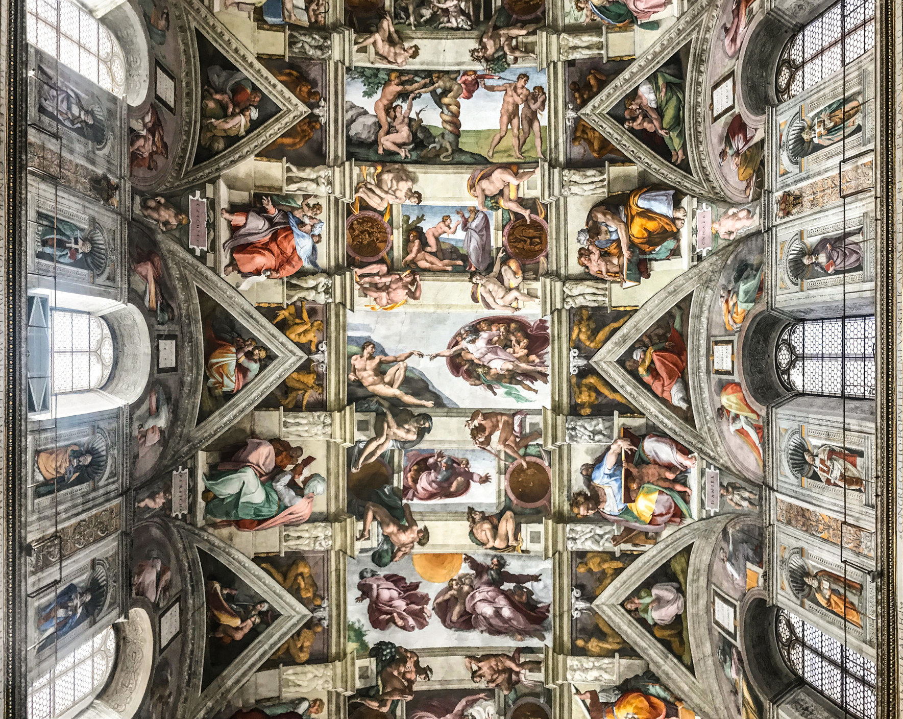 Ceiling of the Sistine chapel in the Vatican Museum