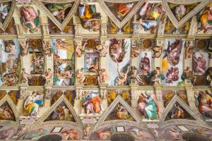 Ceiling of the Sistine chapel in the Vatican museum in Vatican