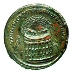 Celebratory medallion of Gordian 3rd (3rd century AD) depicting the Meta Sudans in front of the Colossus of Nero