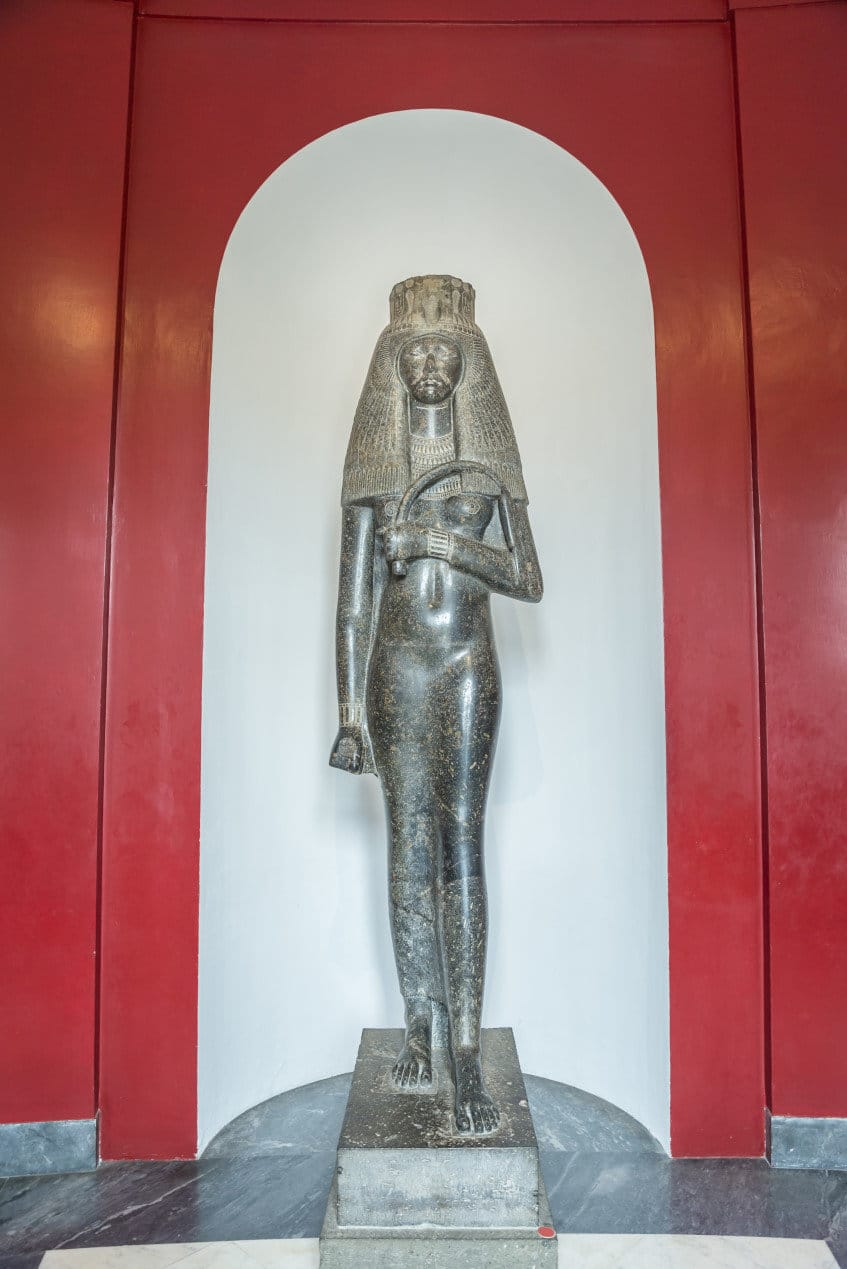 Colossal statue of queen Tuya in Gregorian Egyptian Museum.