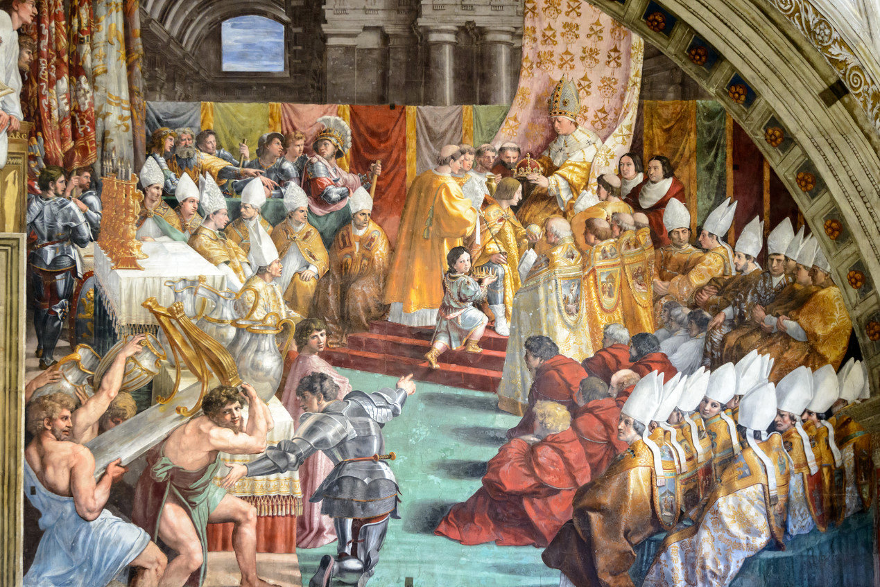 Coronation of Charlemagne in Vatican Museum, Rome, Italy. The Renaissance painting in one of the Raphael's rooms. Charlemagne in the fresco of the 16th century.