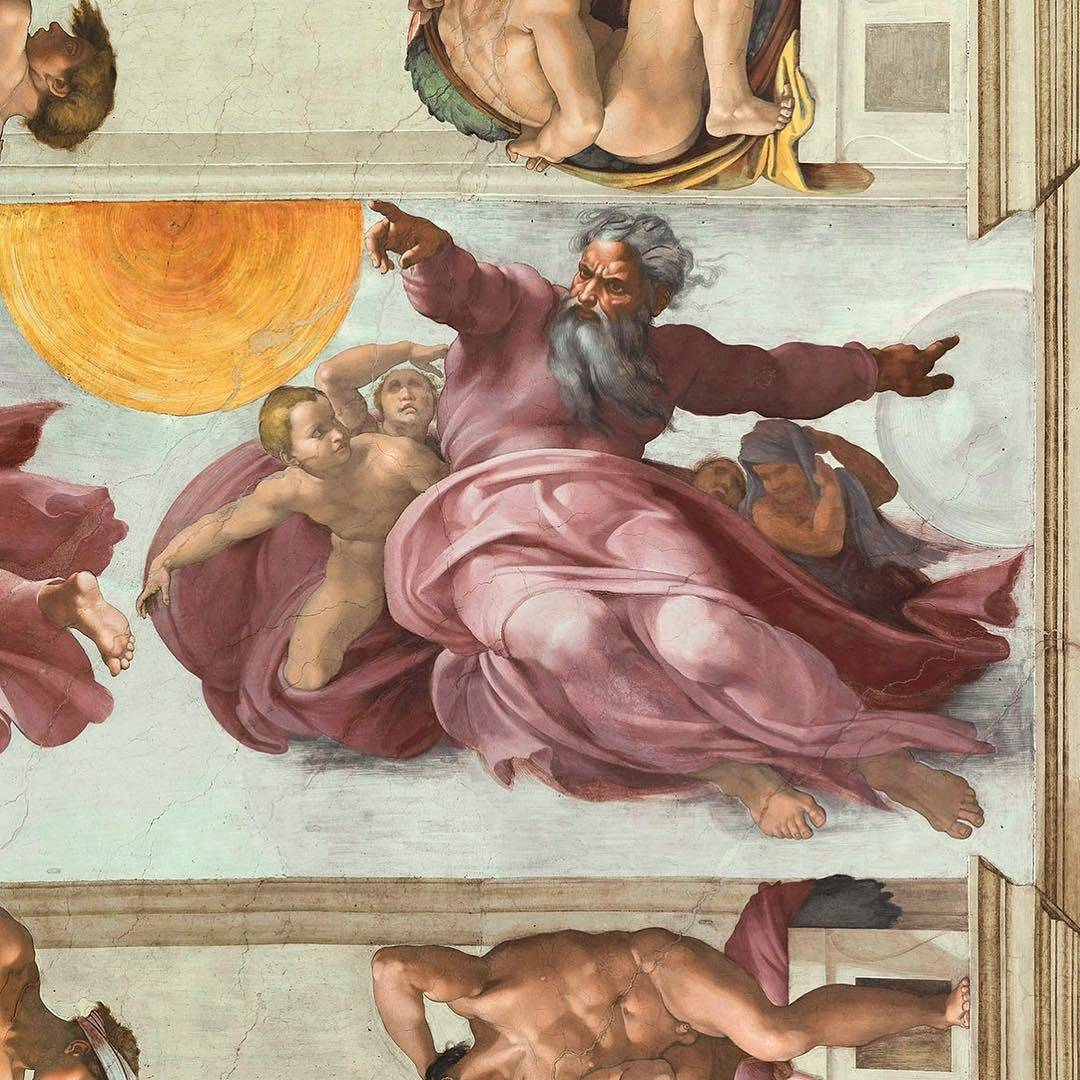 Creation of the Sun and the Moon - 1511- Michelangelo-Sistine Chapel