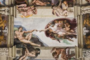 Detail of the Universal Judgement inside the Sistine Chapel in Vatican City.