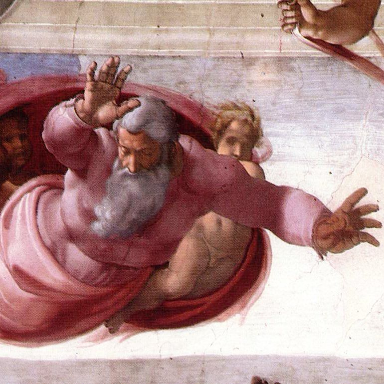 God dividing the waters, Sistine Chapel cieling (detail) by Michelangelo