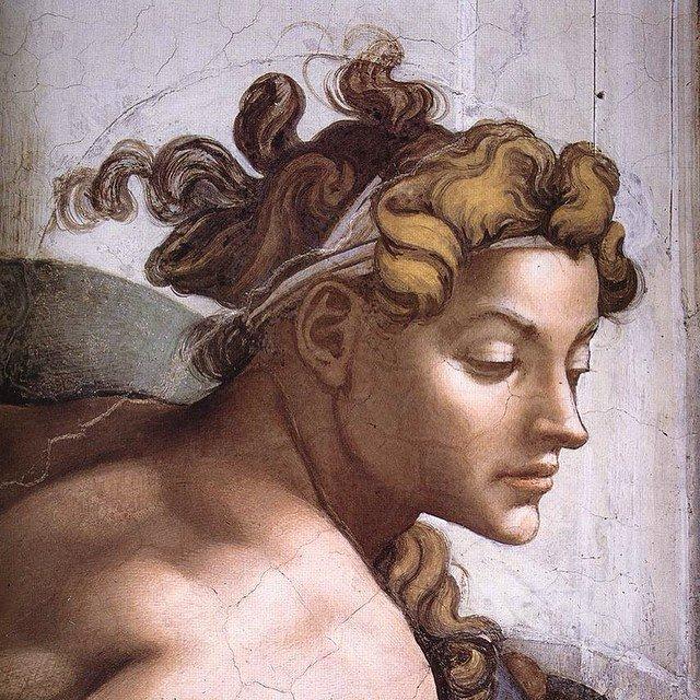 Ignudi, Sistine Chapel cieling by Michelangelo (detail)