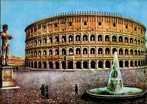 Imaginary reconstruction of the Colosseum, of the Meta Sudans of the Colossal bronze Statue of Nero.