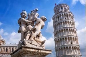 Leaning Tower of Pisa at sunny day, Italy