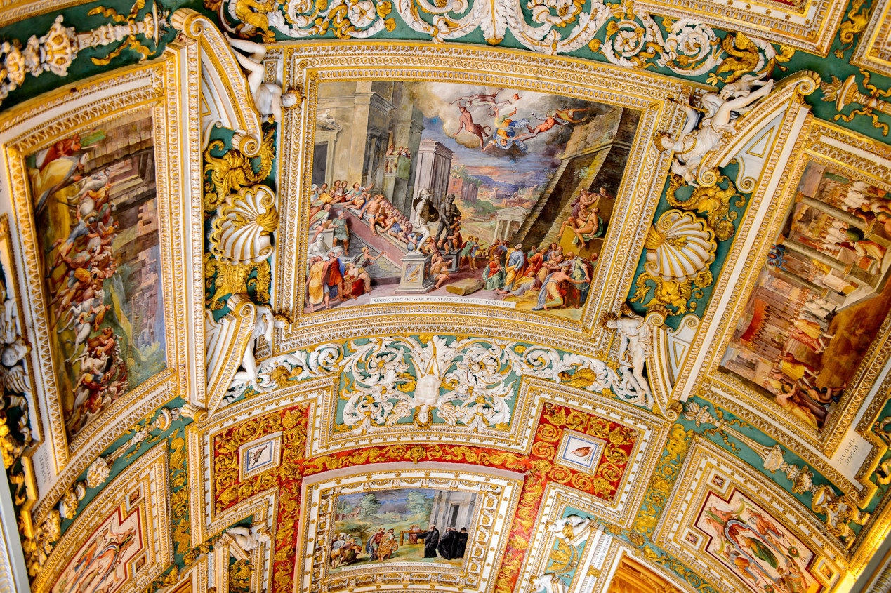 Paintings on the walls and the ceiling in the Gallery of Maps, at the Vatican Museum. It was established in 1506