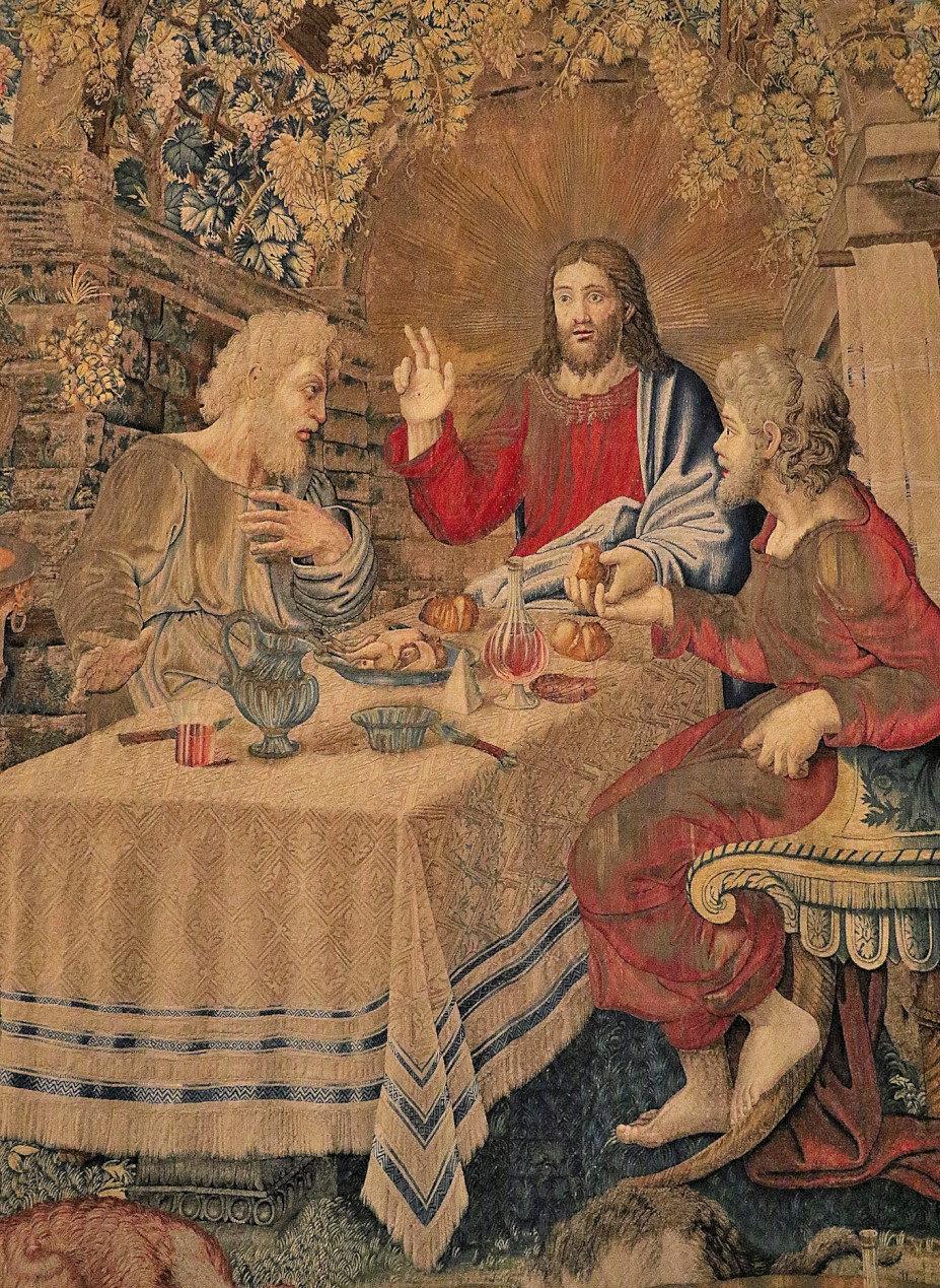 Pieter van Aelst, Tapestry with the Supper in Emmaus (XVI century) - Vatican Museums