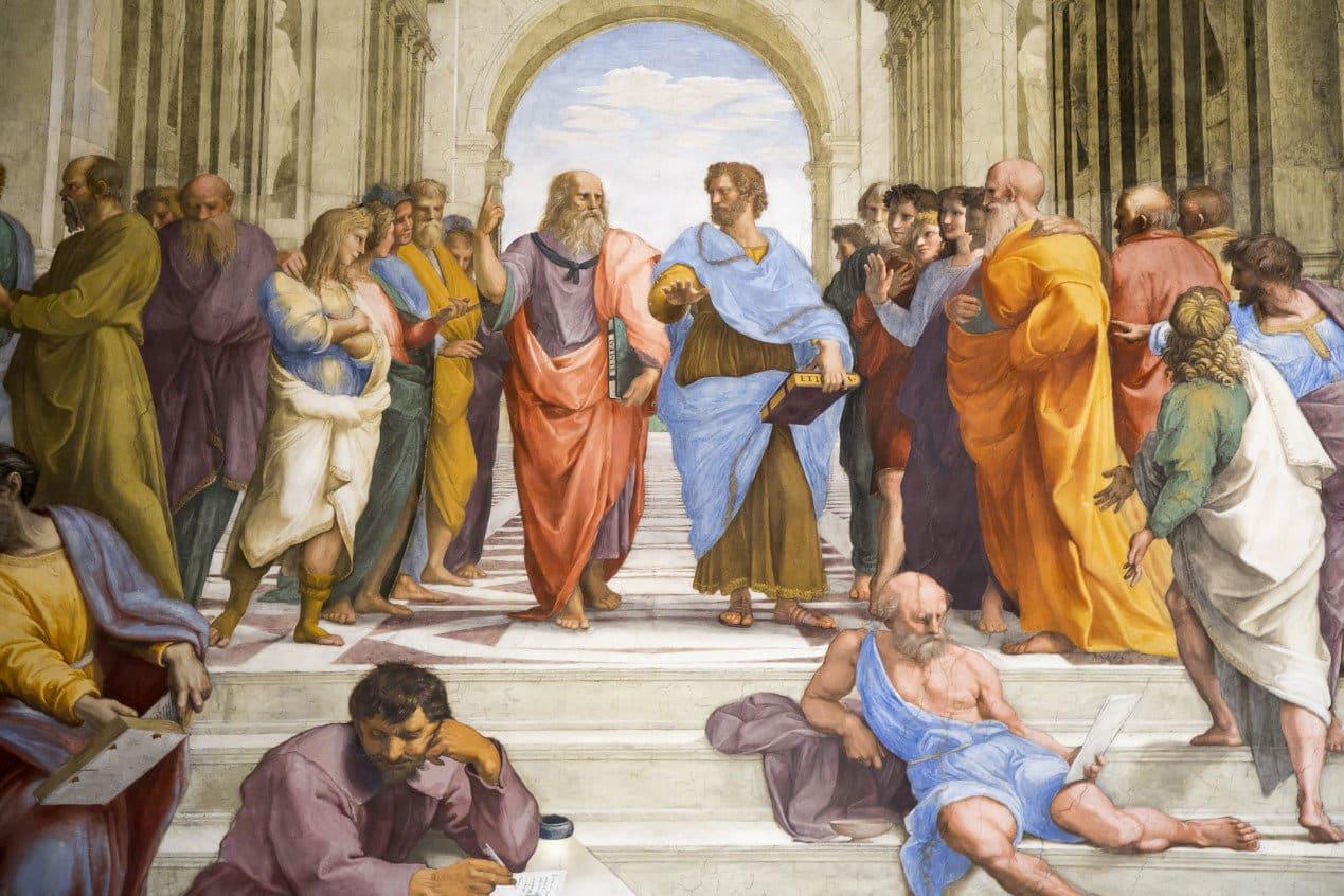 Raphael, detail of Plato and Aristotle in center, School of Athens, 1509-1511, fresco (Stanza della Segnatura, Palazzi Pontifici, Vatican)