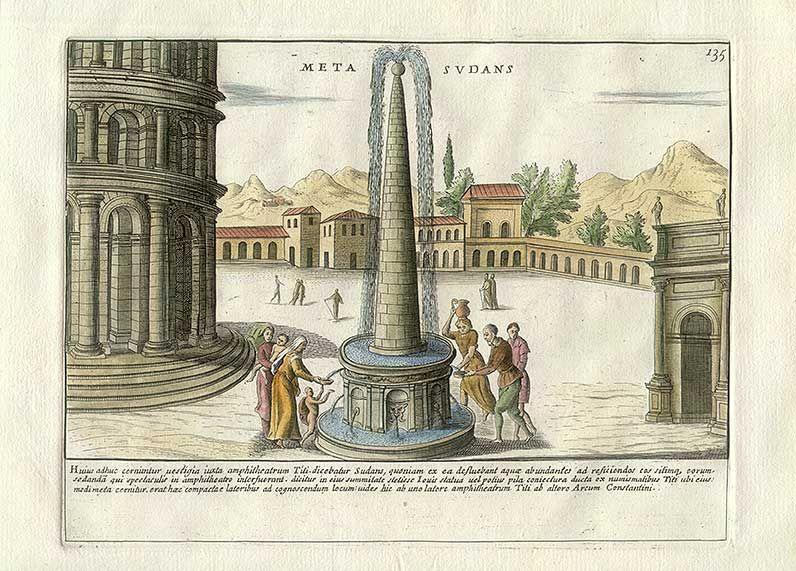 Reconstruction of Meta Sudans (the second, a copper engraving of 1699, by Pietro Santi Bartoli)-2