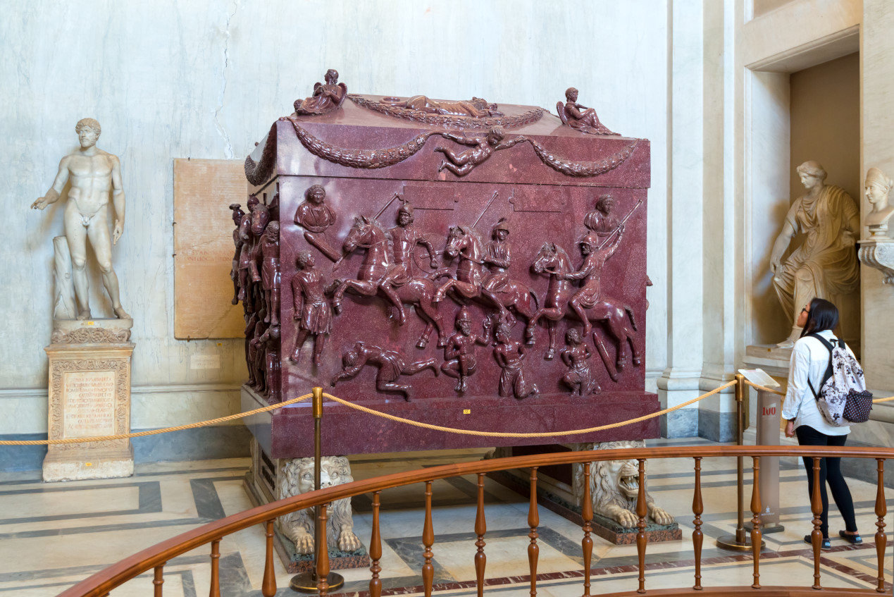 Sarcophagus of Helena (the mother of the emperor Constantine the Great) in the Museo Pio-Clementino, Vatican Museum, Rome