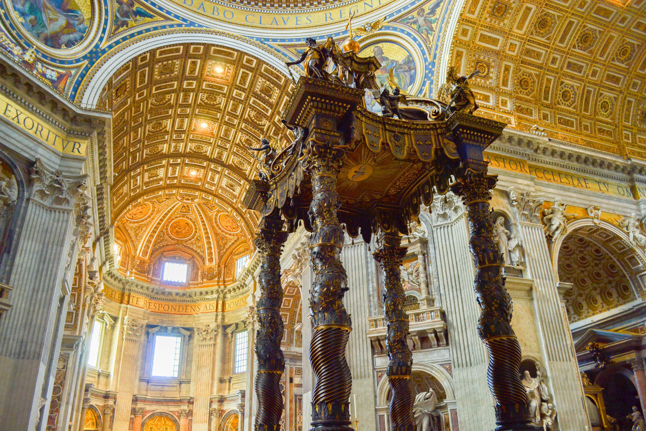 St. Peter's Baldachin inside of St. Peter's Basilica, in Vatican City, Italy.