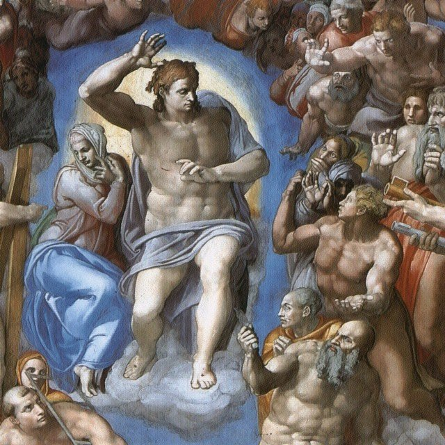 The Last Judgement (detail) by Michelangelo, Sistine Chapel