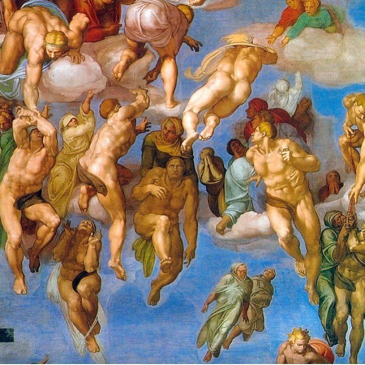The Last Judgment Group of the Saved - 1511-Michelangelo-Sistine Chapel