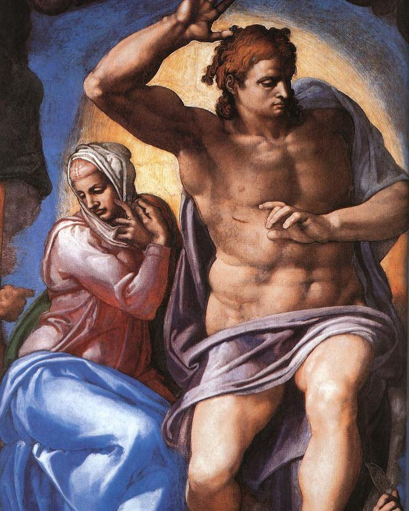 The Last Judgment Mary and Jesus - 1541 - Michelangelo - Sistine Chapel