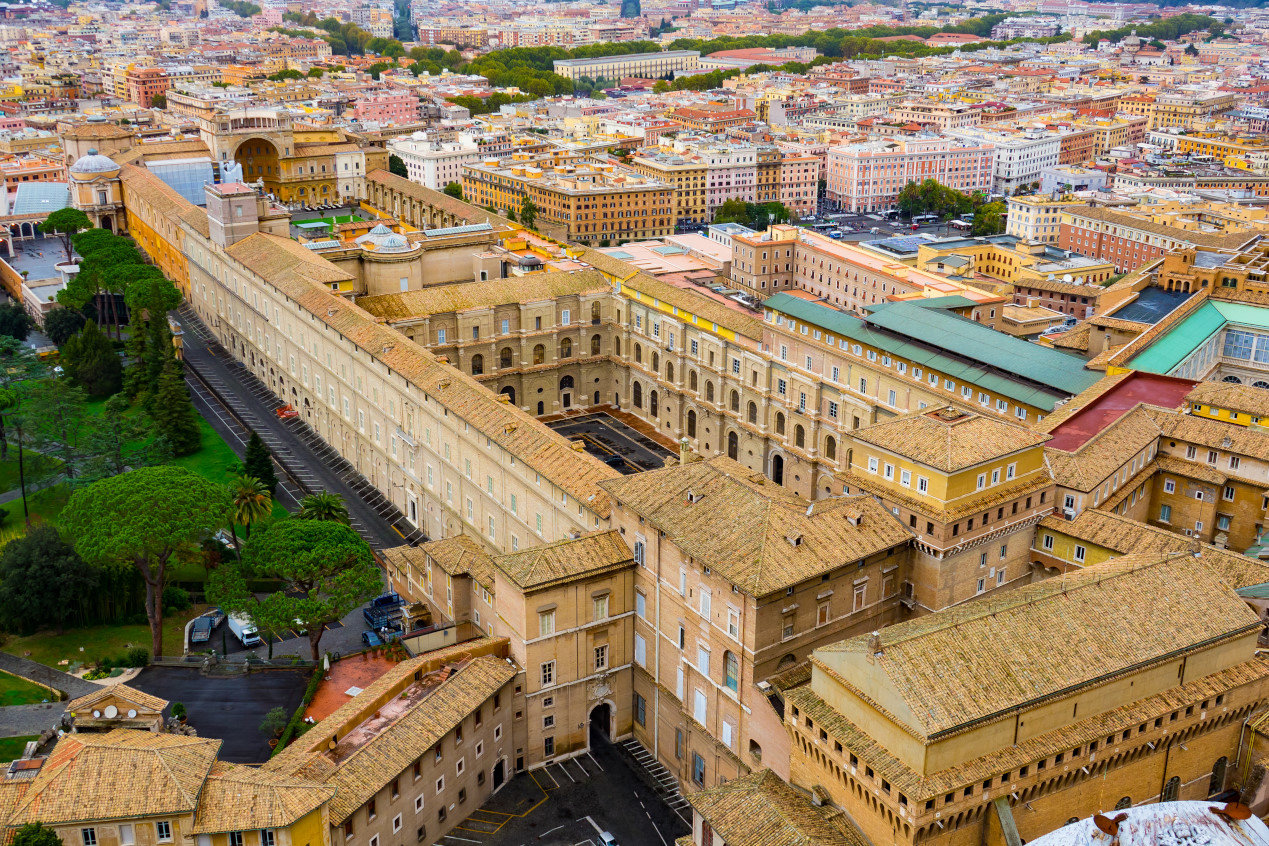 The Vatican museums - aerial view from St. Peter s Basilica in Rome