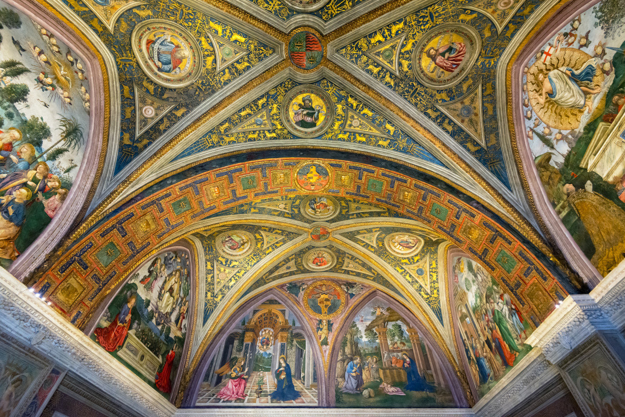 The ceiling in Borgia Apartments in the Vatican Palace, Vatican Museums