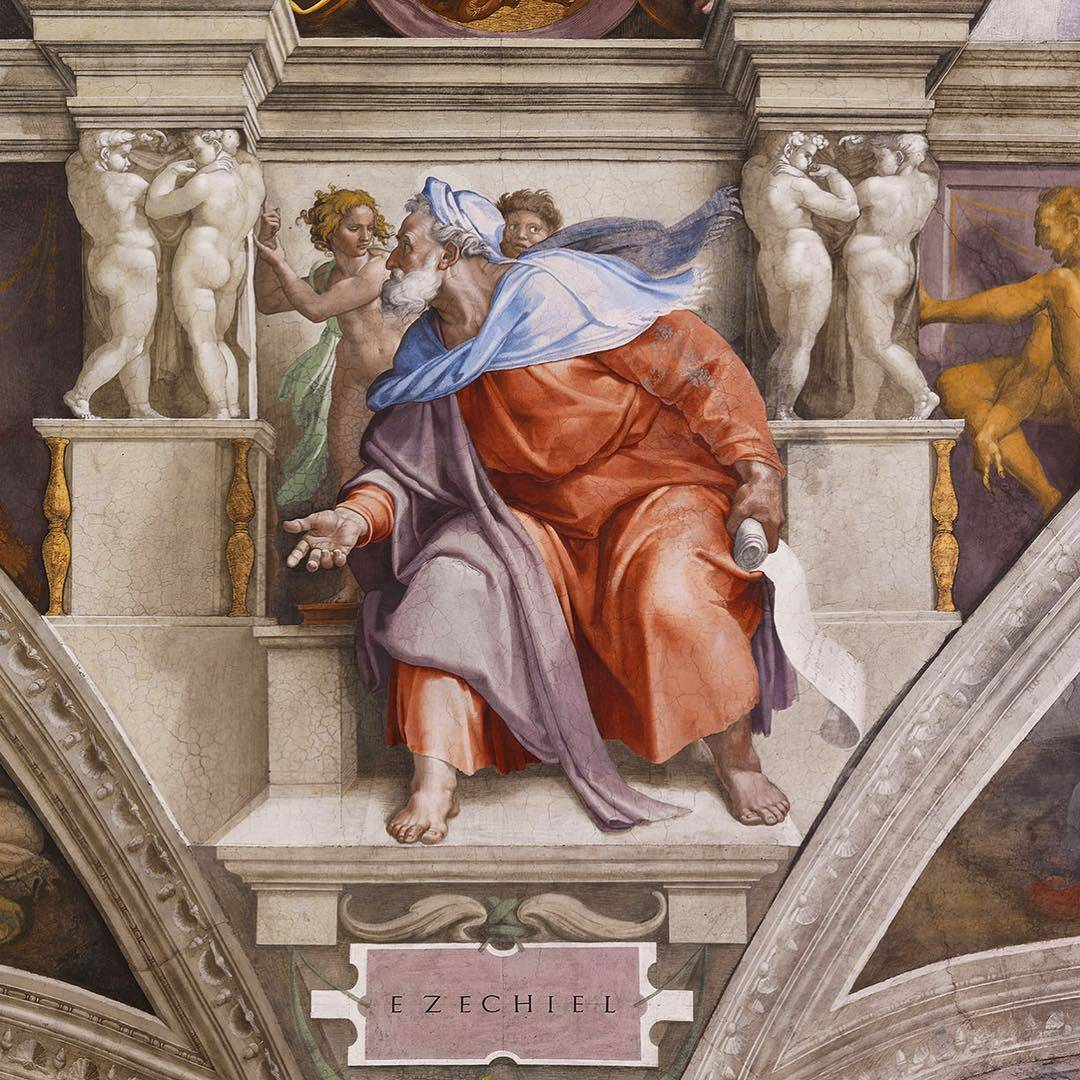 The prophet Ezekiel, Sistine Chapel cieling by Michelangelo