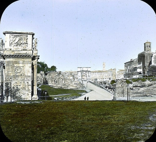 Two recoloured photographs from about 1890, the first one, and from 1900, the second one.-1