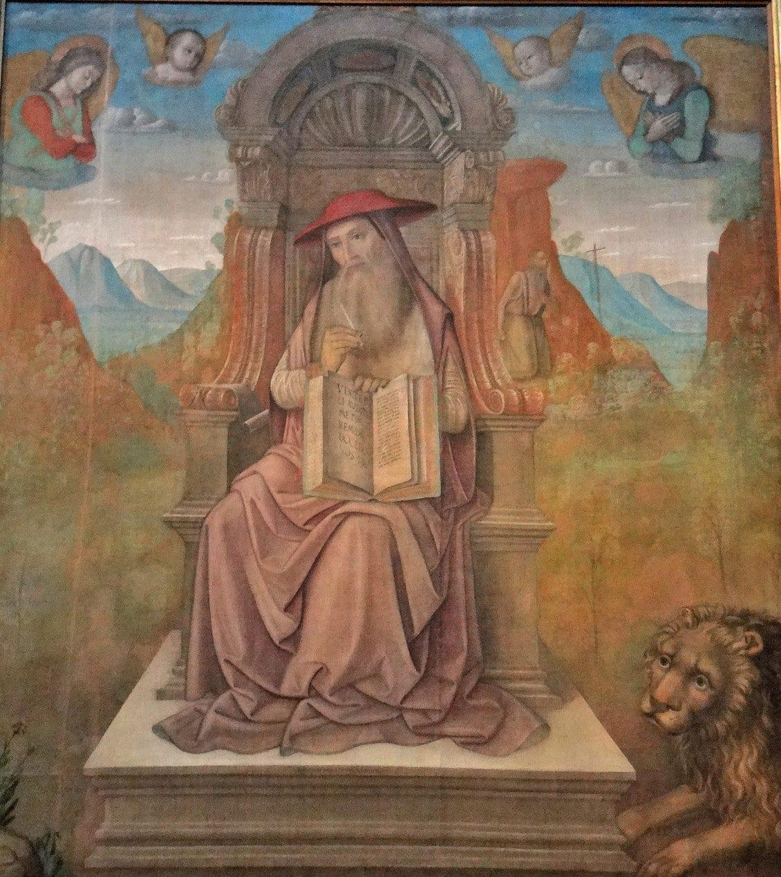 Vatican Art Gallery - Giovanni Santi (1439 - 1494) - St Jerome enthroned