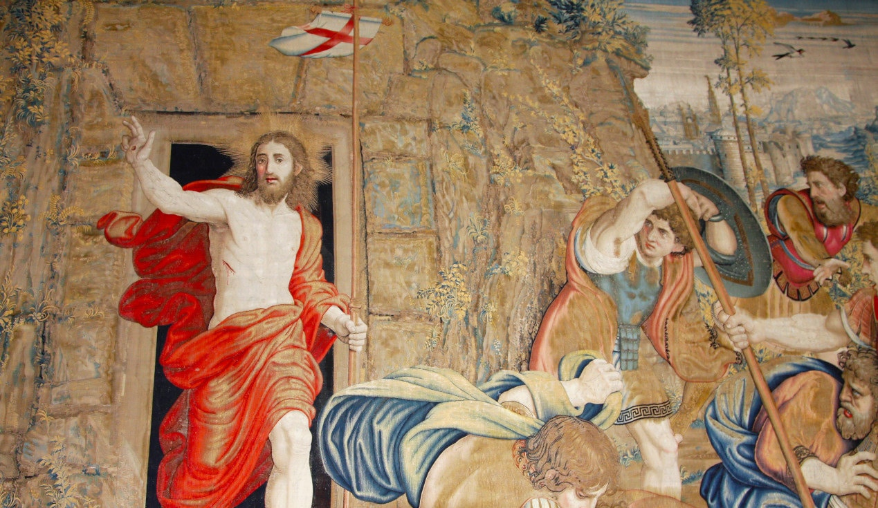 Vatican, Rome, Italy. Tapestry Jesus Christ's revival