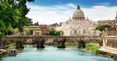 view on Tiber and St Peter Basilica in Vatican - Vatican City Map