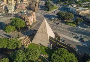 Aerial view of the Pyramid of Cestius