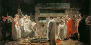 Jules Eugene Lenepveu, Martyrs in the Catacombs, 1855, oil on canvas, 170 x 336 cm, Musee d'Orsay, Paris