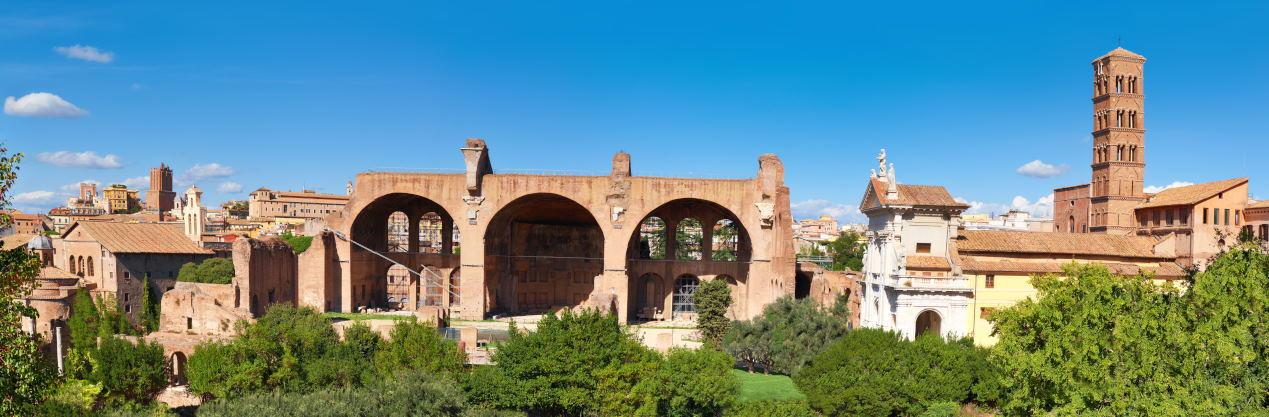Panoramic image of ruined Basilica of Maxentius and Constantine, Forum Romanum in Rome, Italy