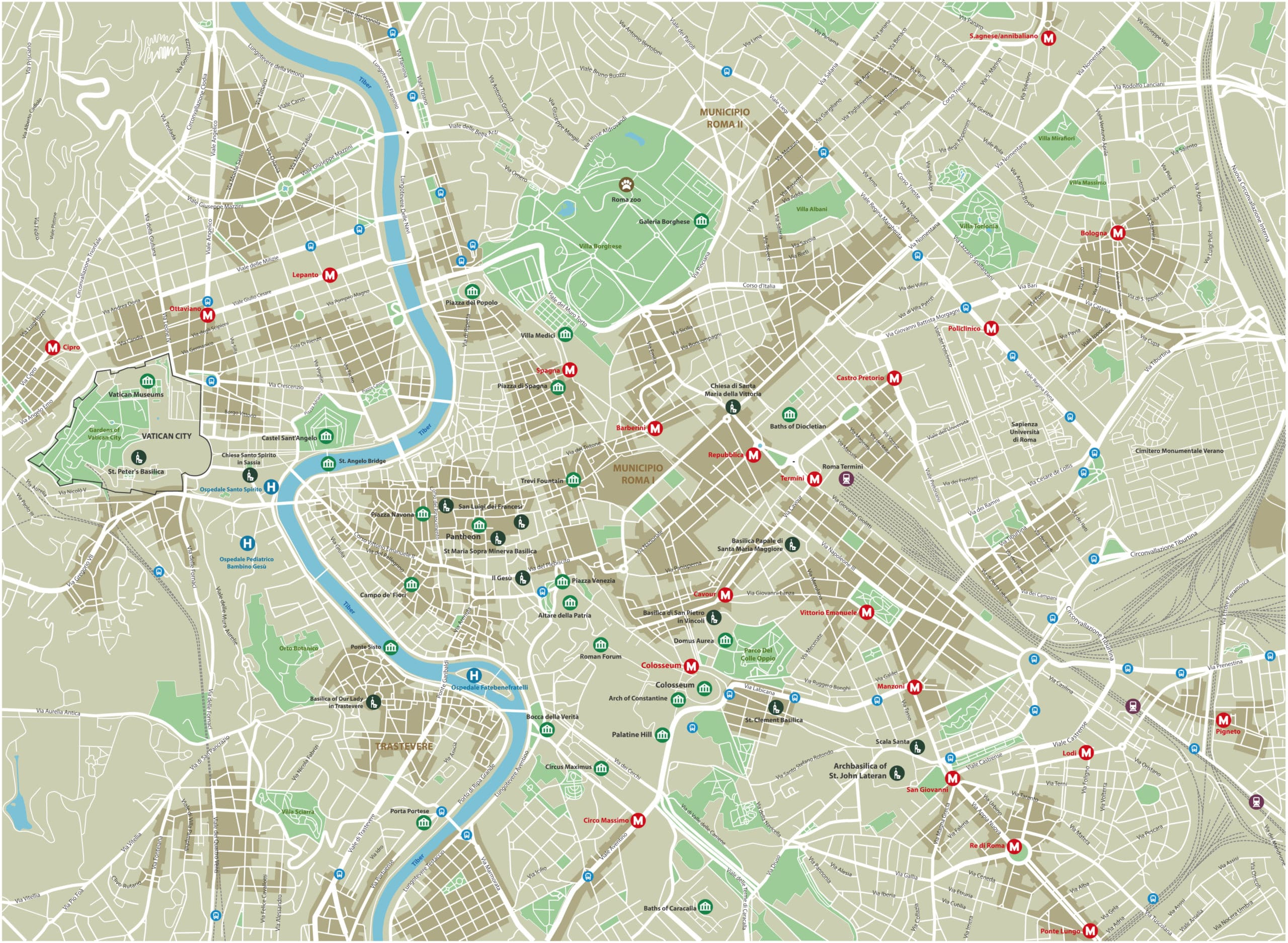 Rome Tourist Map - Colosseum Rome Tickets on