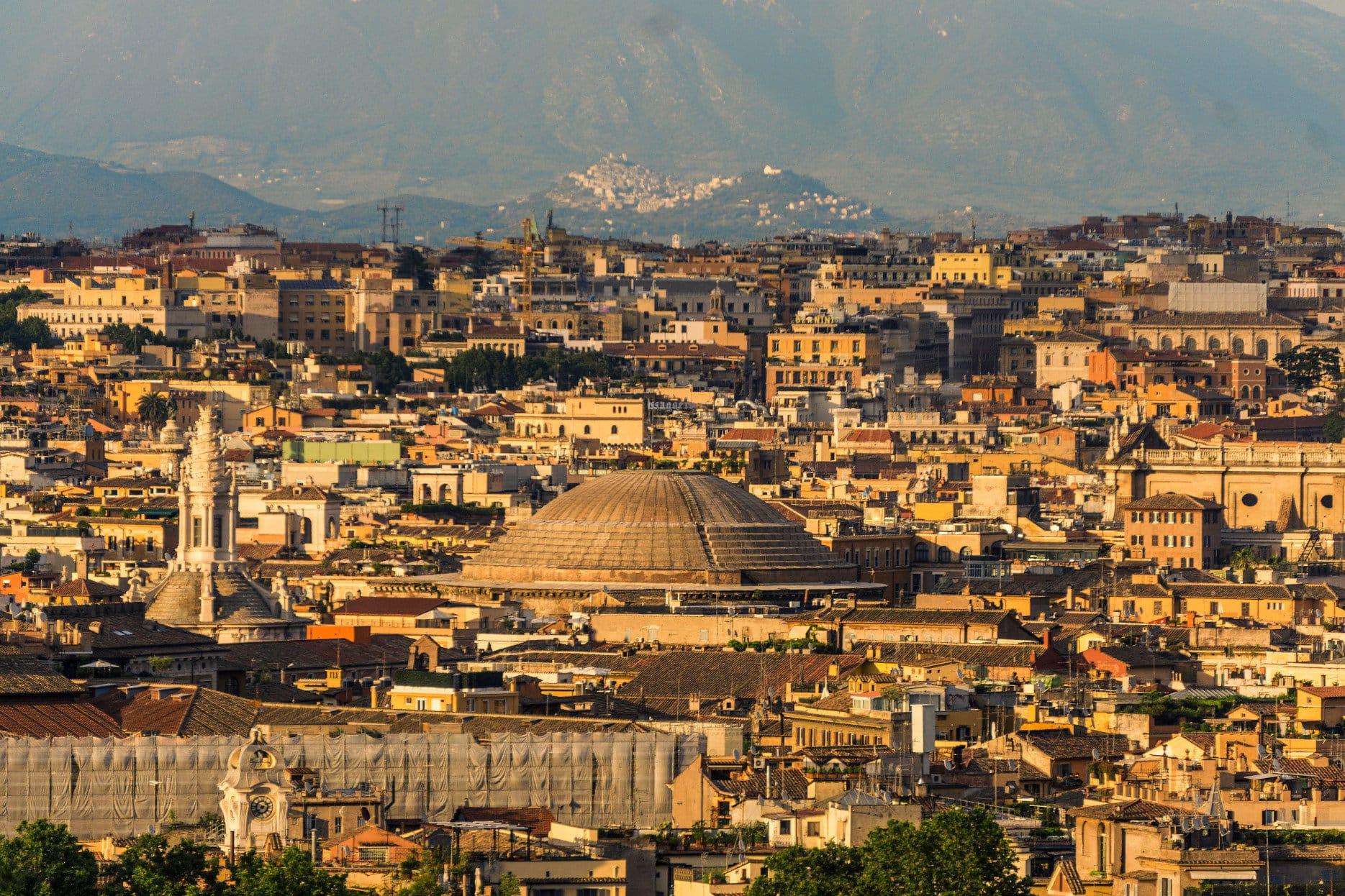 Rome city skyline panoramic view.