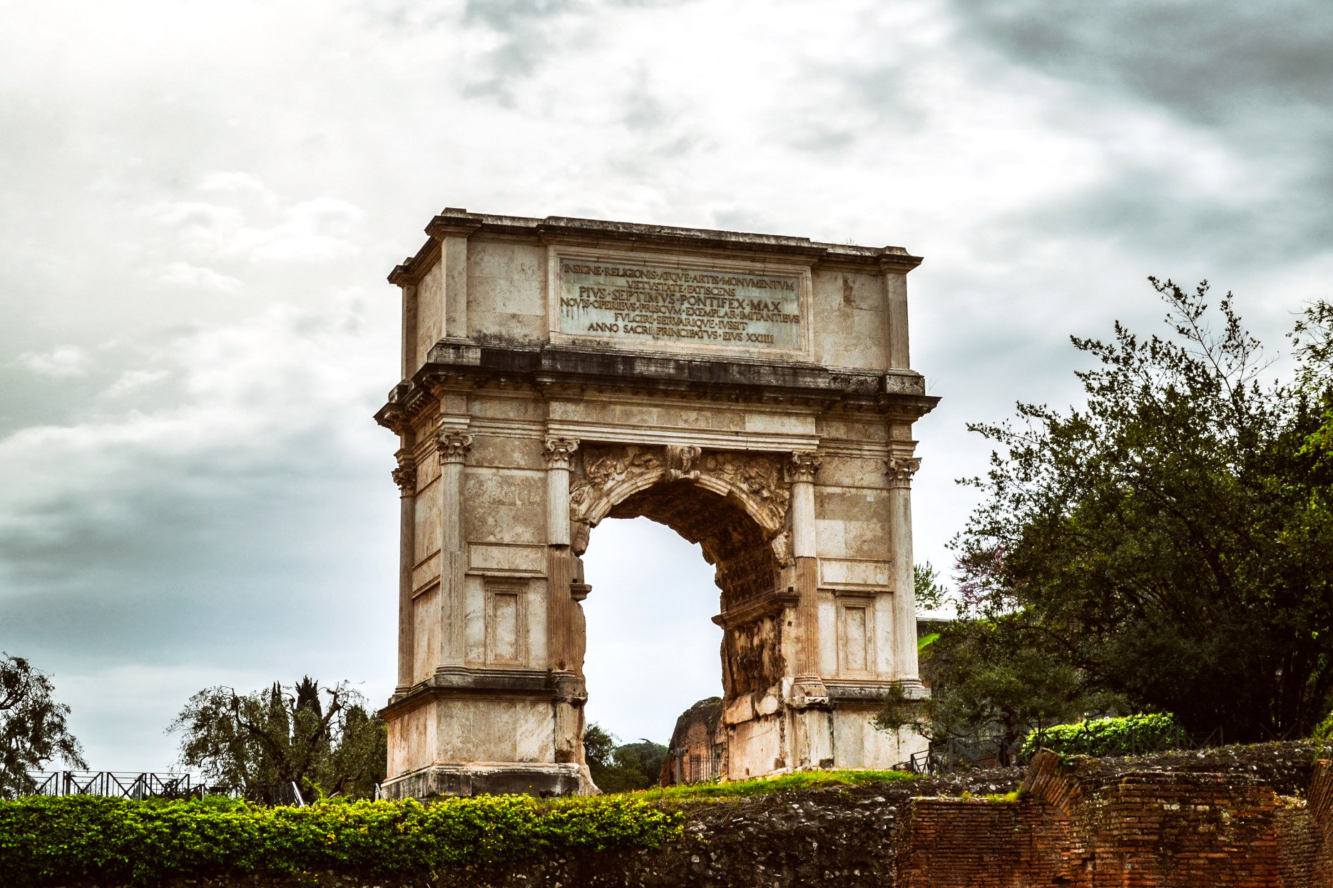 The Arch of Titus in Rome, Italy. Rome landmark.