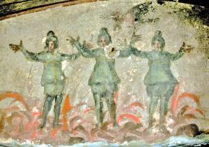 The Three Youths in Purgatorial Fire, early Christian fresco, 3rd C. A.D Catacombe di Priscilla, Rome.
