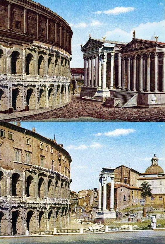 Theater of Marcellus, Rome. Now and then (historical reconstriction art).
