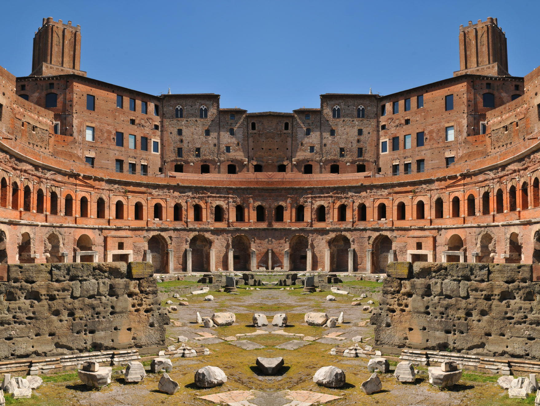Panorama of the Trajan's Market in Rome, Italy