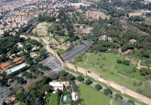 Aerial View of Aurelian Walls, Rome Italy